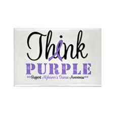 Think Purple Alzheimer's Rectangle Magnet