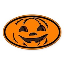 Halloween Euro Oval Sticker with Jack O Lantern