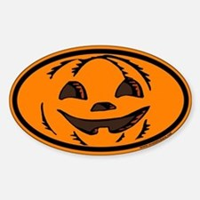 Halloween Euro Oval Sticker with Jack O Lantern