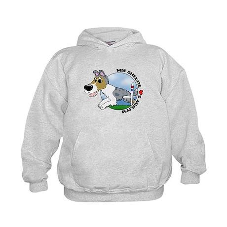 Cartoon Sheltie Agility Kids Hoodie (Blue Merle)