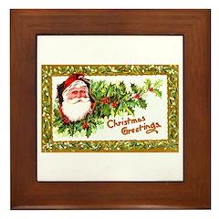 Santa Christmas Greetings Framed Tile