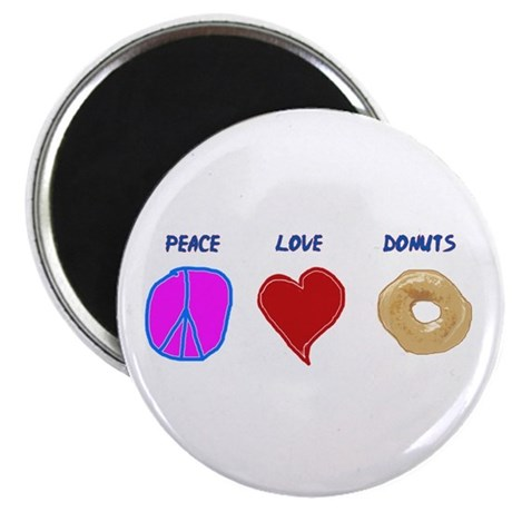 Peace Love & donuts Magnet