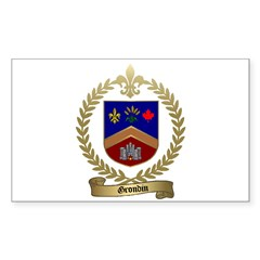 GRONDIN Family Crest Rectangle Decal