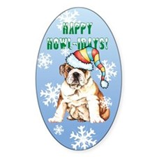 Holiday Bulldog Oval Decal