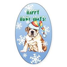 Holiday Bulldog Oval Decal