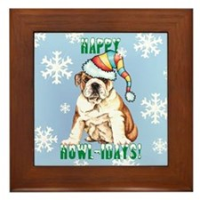 Holiday Bulldog Framed Tile