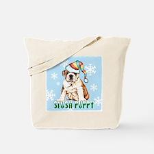 Holiday Bulldog Tote Bag