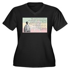 Haile Selassie Women's Plus Size V-Neck Dark T-Shi