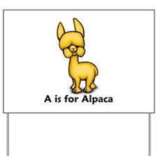 A is for Alpaca Yard Sign