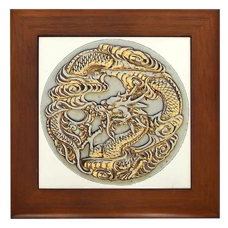 Gold Dragon Framed Tile