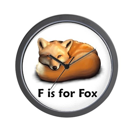 F is for Fox Wall Clock