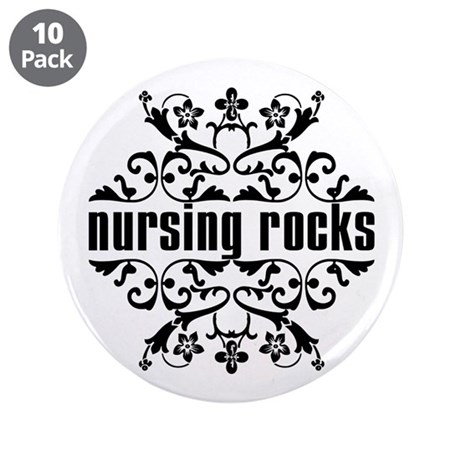 "Nursing Rocks 3.5"" Button (10 pack)"