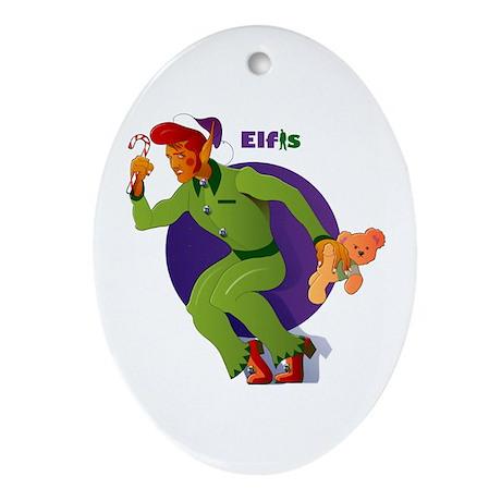 Elfis Elvis Presley Christmas Oval Ornament