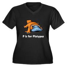 P is for Platypus Women's Plus Size V-Neck Dark T-