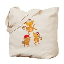 Christmas Dancing Monkies Tote Bag