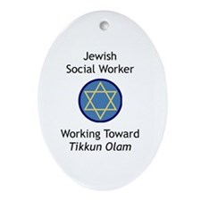 Jewish Social Worker Oval Ornament