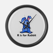 R is for Rabbit Large Wall Clock