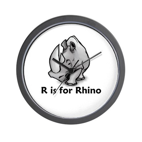 R is for Rhino Wall Clock