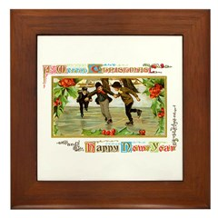Christmas Ice Skating Scene Framed Tile