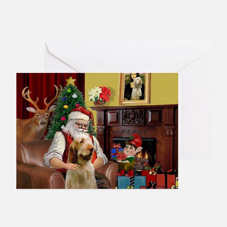 Santa/Spinone 4 Greeting Cards (Pk of 10)