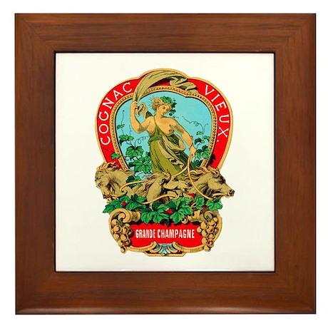 Cognac Label Framed Tile