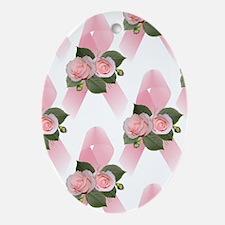 Breast Cancer Ribbon & Roses Keepsake (Oval)