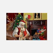 Santa's Wire Fox Terrier Rectangle Magnet