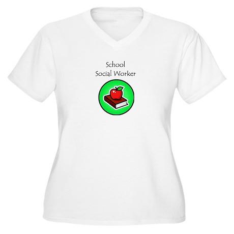 School Social Worker Women's Plus Size V-Neck T-Sh