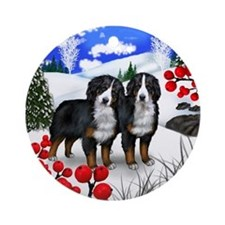 BERNESE MOUNTAIN DOGS WINTER Ornament (Round)