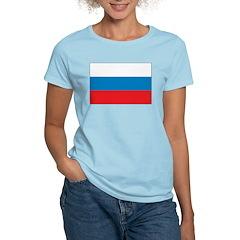 Russia Flag Women's Pink T-Shirt