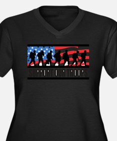 Support Our Troops! Women's Plus Size V-Neck Dark