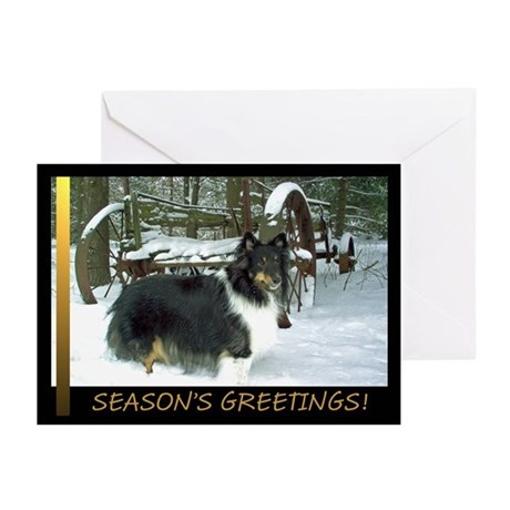 Winter Wagon Sheltie Greeting Cards (Pk of 20)