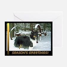 Winter Wagon Sheltie Greeting Cards (Pk of 10)