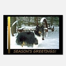 Winter Wagon Sheltie Postcards (Package of 8)