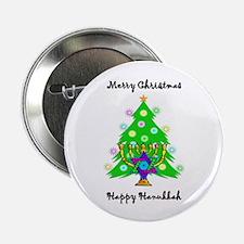 """Hanukkah and Christmas Interfaith 2.25"""" Button (10"""