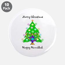 """Hanukkah and Christmas Interfaith 3.5"""" Button (10"""
