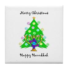 Hanukkah and Christmas Interfaith Tile Coaster