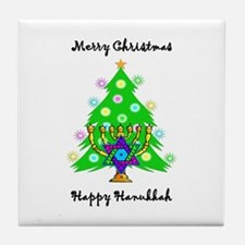 Hanukkah and Christmas Interfaith Tile Coaster