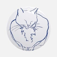 Contented Cat with Border Ornament (Round)