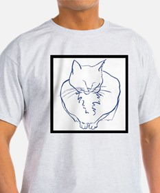 Contented Cat with Border T-Shirt