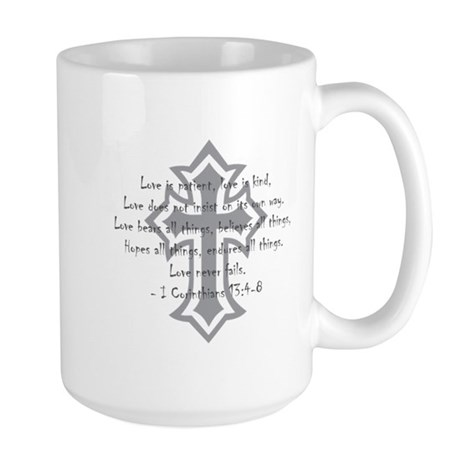 1 corinthians love is patient Large Mug