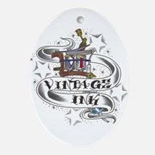Vintage Ink Classic Logo Oval Ornament