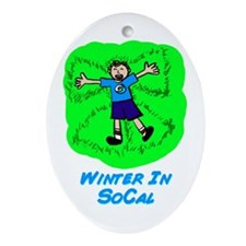 Winter In SoCal Oval Ornament