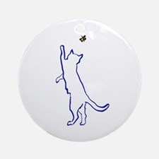 Cat with Butterfly Ornament (Round)