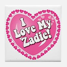 I Love My Zadie Tile Coaster