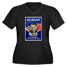 Cute Ronald reagan Women's Plus Size V-Neck Dark T-Shirt