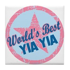 Worlds Best Yia Yia Tile Coaster
