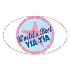 Worlds Best Yia Yia Oval Decal