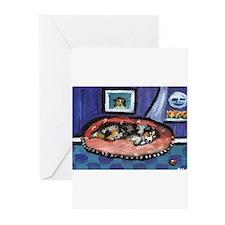 Australian shepherd blue bed Greeting Cards (Packa