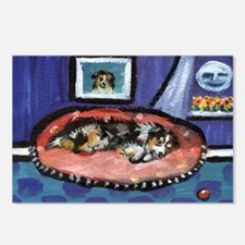 Australian shepherd blue bed Postcards (Package of